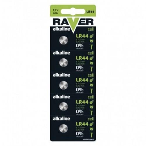 Alkalická gombíková batéria RAVER LR44 (A76)