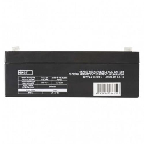 Bezúdržbový olovený akumulátor 12 V/2,2 Ah, faston 4,7 mm