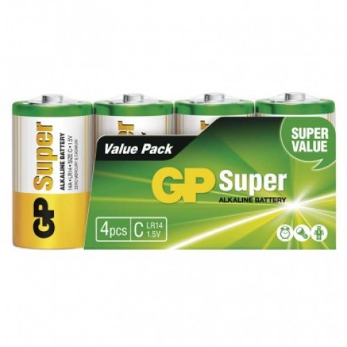 Alkalická batéria GP Super LR14 (C), fólia