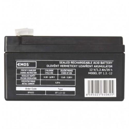 Bezúdržbový olovený akumulátor 12 V/1,3 Ah, faston 4,7 mm