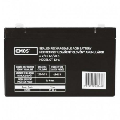 Bezúdržbový olovený akumulátor 6 V/12 Ah, faston 4,7 mm