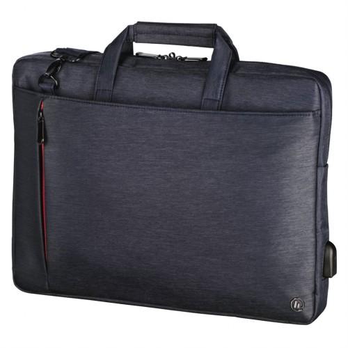 """Hama taška na notebook s integrovaným USB káblom Manchester, 34 cm (13,3""""), modrá"""