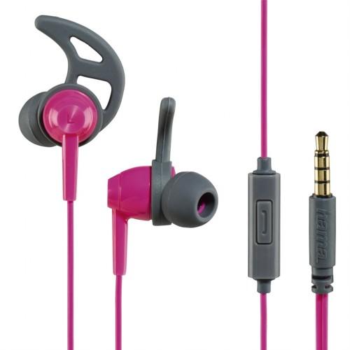 Hama slúchadlá s mikrofónom Action, silikónové štuple, ružová/šedá