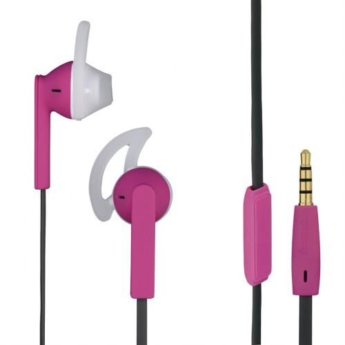 Hama slúchadlá s mikrofónom Joy Sport, silikónové štuple, ružová/šedá